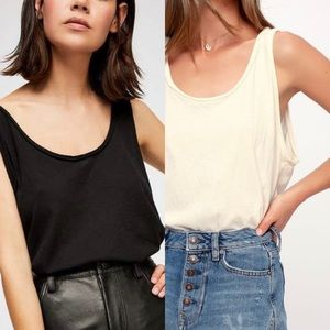 Two Free People Sidney Bodysuit Black and White